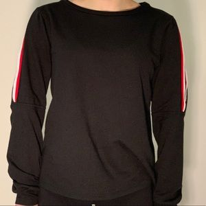 Project Social T Black Red Sleeve Slit Long Sleeve